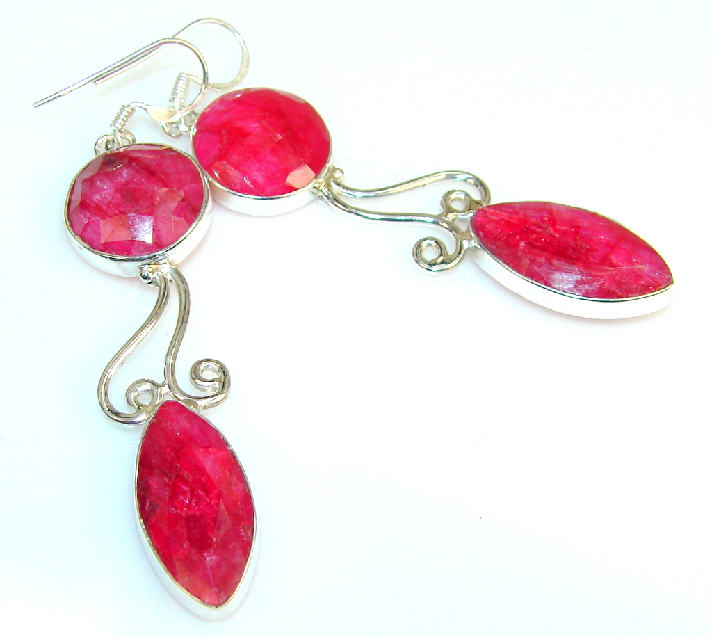 Hot Personality Of Ruby Sterling Silver earrings