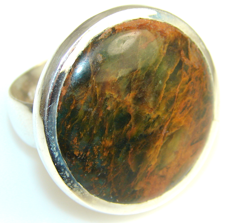 Beautiful Montana Agate Sterling Silver ring s. 9