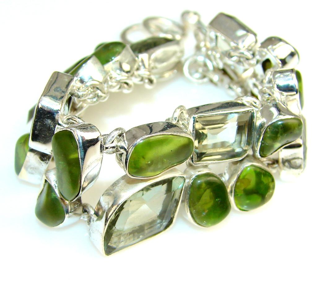 Aura Of Beauty Green Amethyst Sterling Silver Bracelet