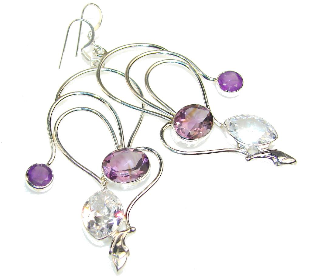 Empress Purple Amethyst Sterling Silver earrings / Long