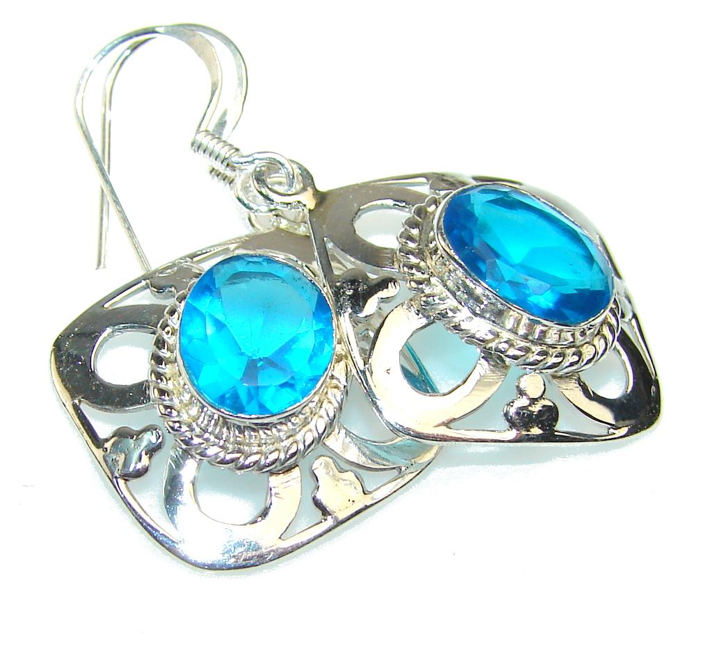 Created Blue Topaz Sterling Silver earrings