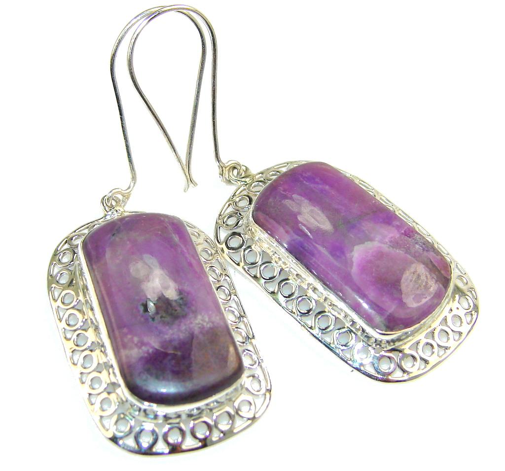 Amazing Purple Sugalite Sterling Silver earrings