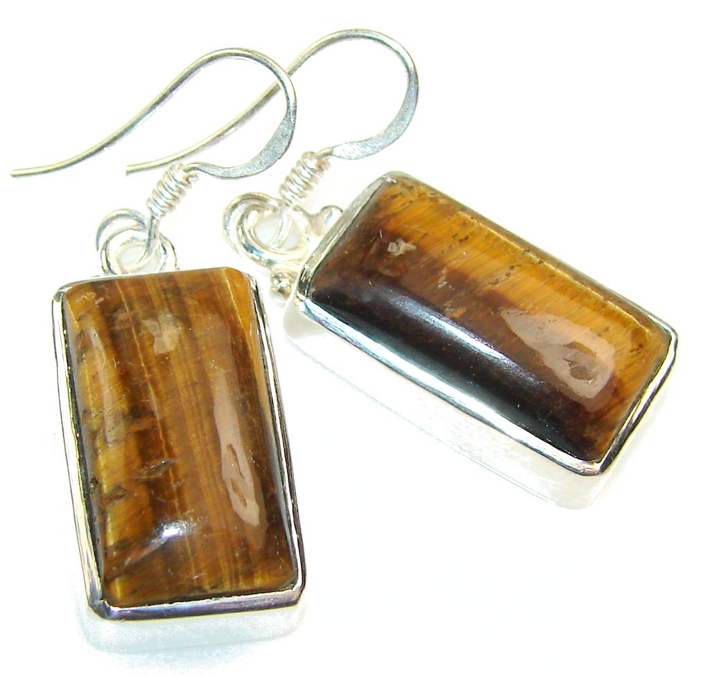 Excellent Brown Tigers Eye Sterling Silver earrings