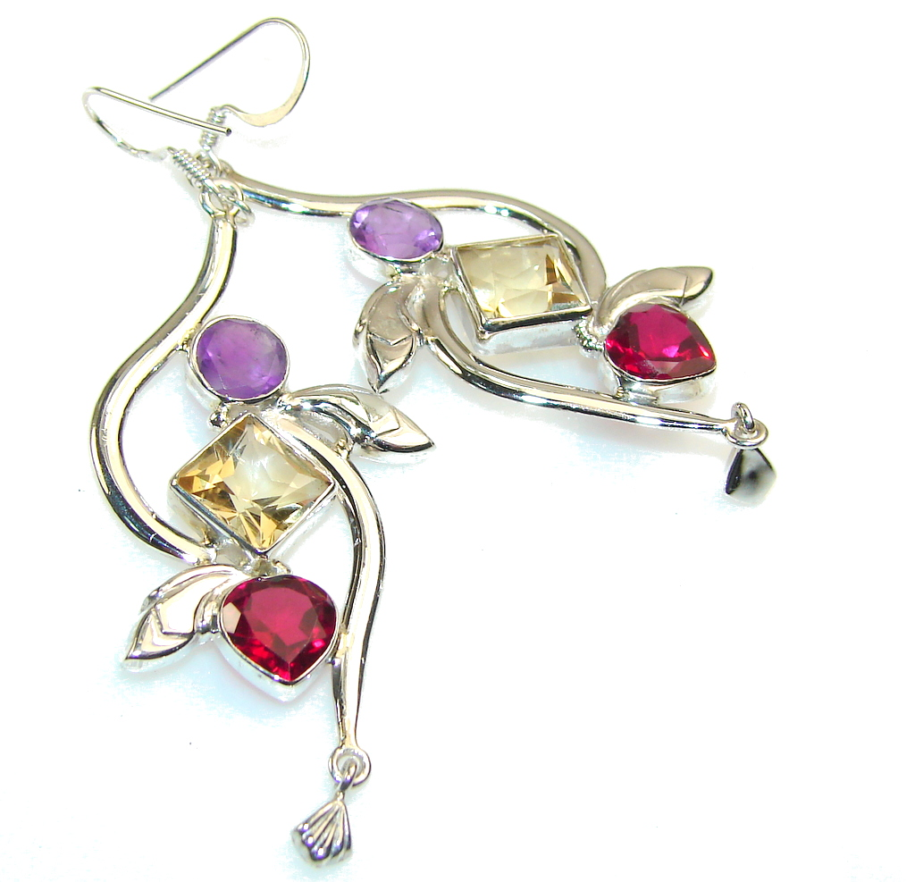 Fabulous Multicolor Quartz Sterling Silver Earrings