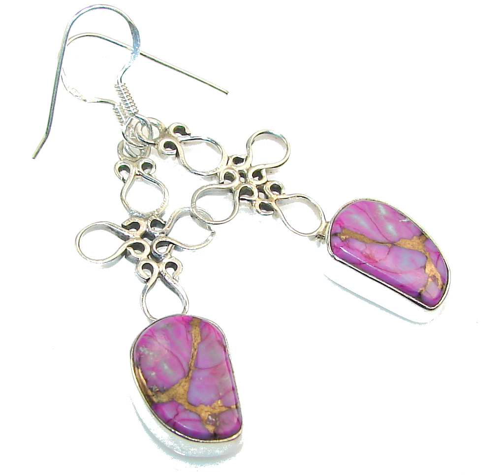 Classic Purple Copper Turquoise Sterling Silver earrings