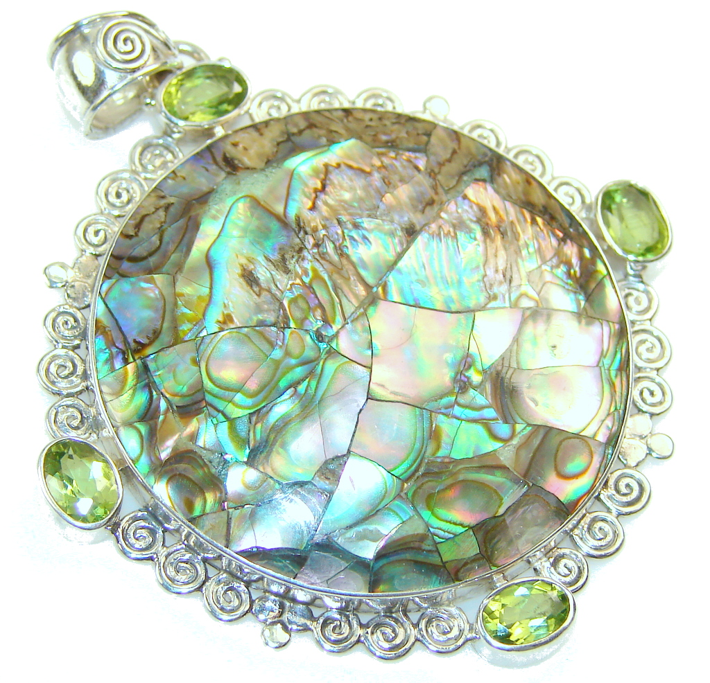 Gentle Rainbow Abalone Sterling Silver Pendant