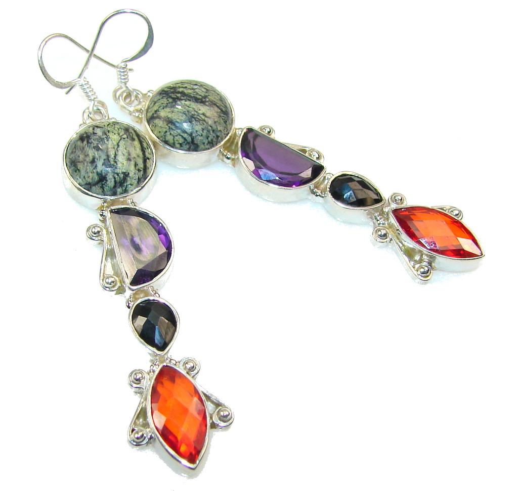 Excellent Multicolor Quartz Sterling Silver Earrings / Long