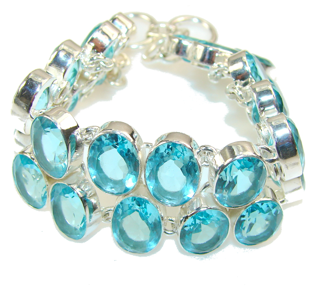 Beautiful Created Blue Topaz Sterling Silver Bracelet