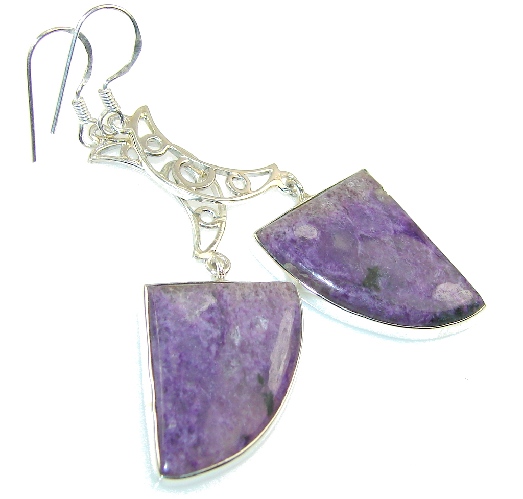 Excellent Purple Charoite Sterling Silver earrings