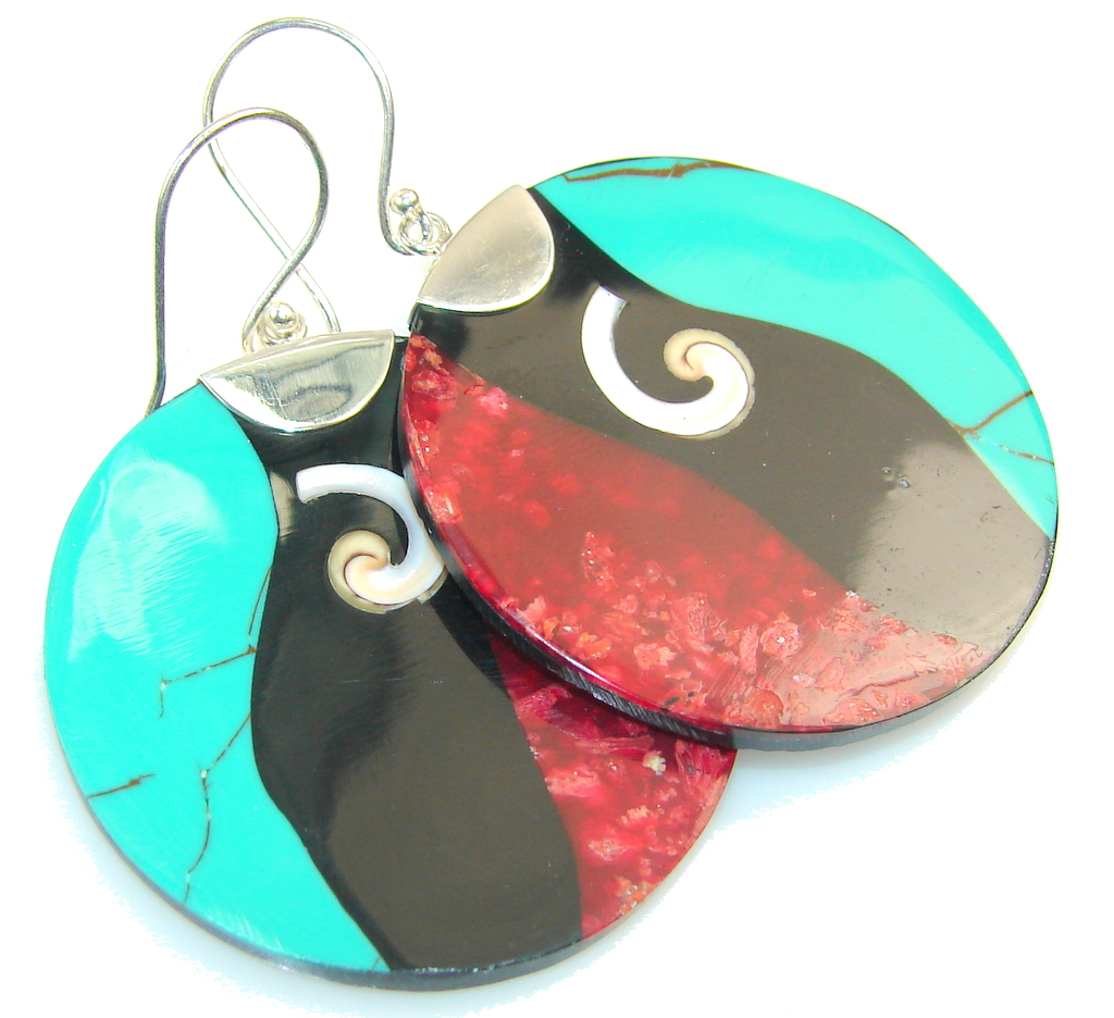 Amazing Design!! Multicolor Sterling Silver Earrings