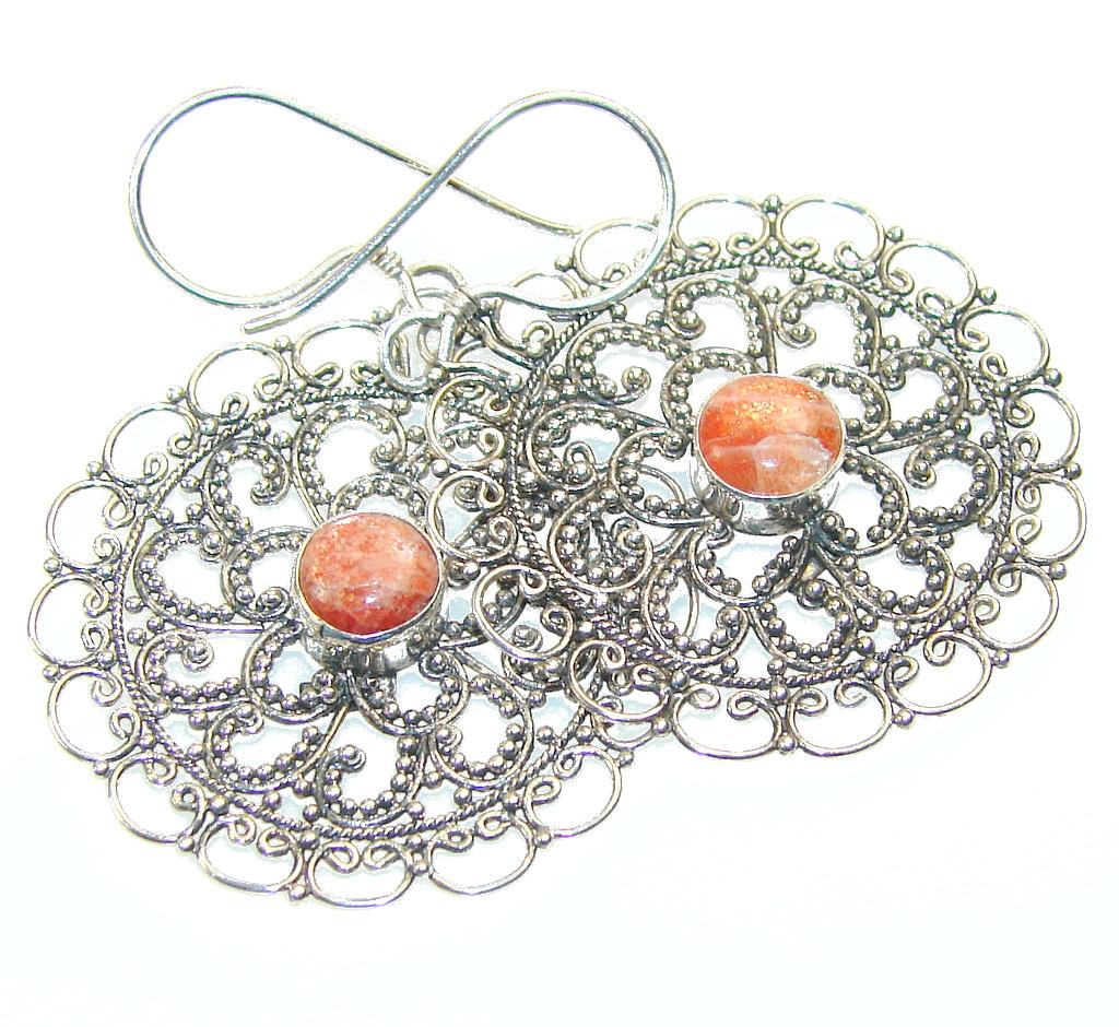 Fantastic Brown Sun Sitara Sterling Silver Earrings