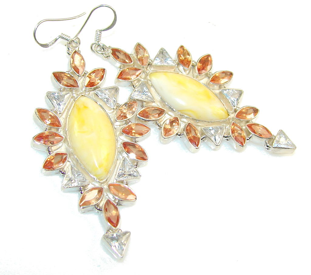 Fabulous Color Of Yellow Agate Sterling Silver earrings / Long