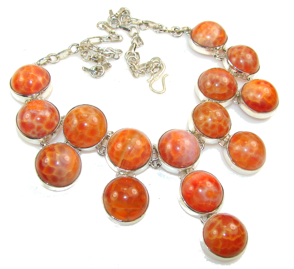 Natural Mexican Fire Agate Sterling Silver necklace