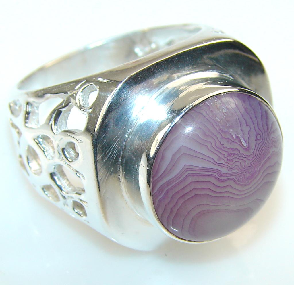 Precious Purple Agate Silver Tone ring s. 10 1/4