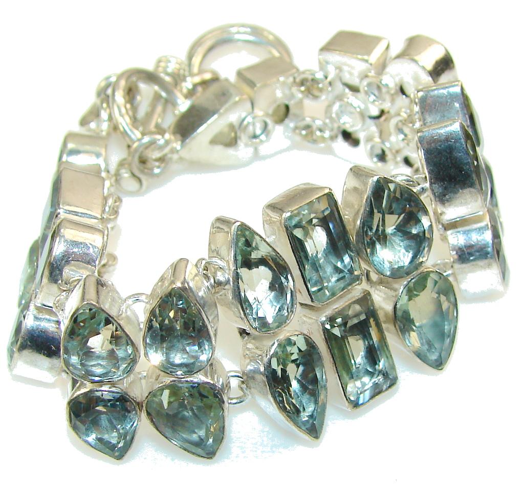 Evergreen Joy!! Green Amethyst Sterling Silver Bracelet