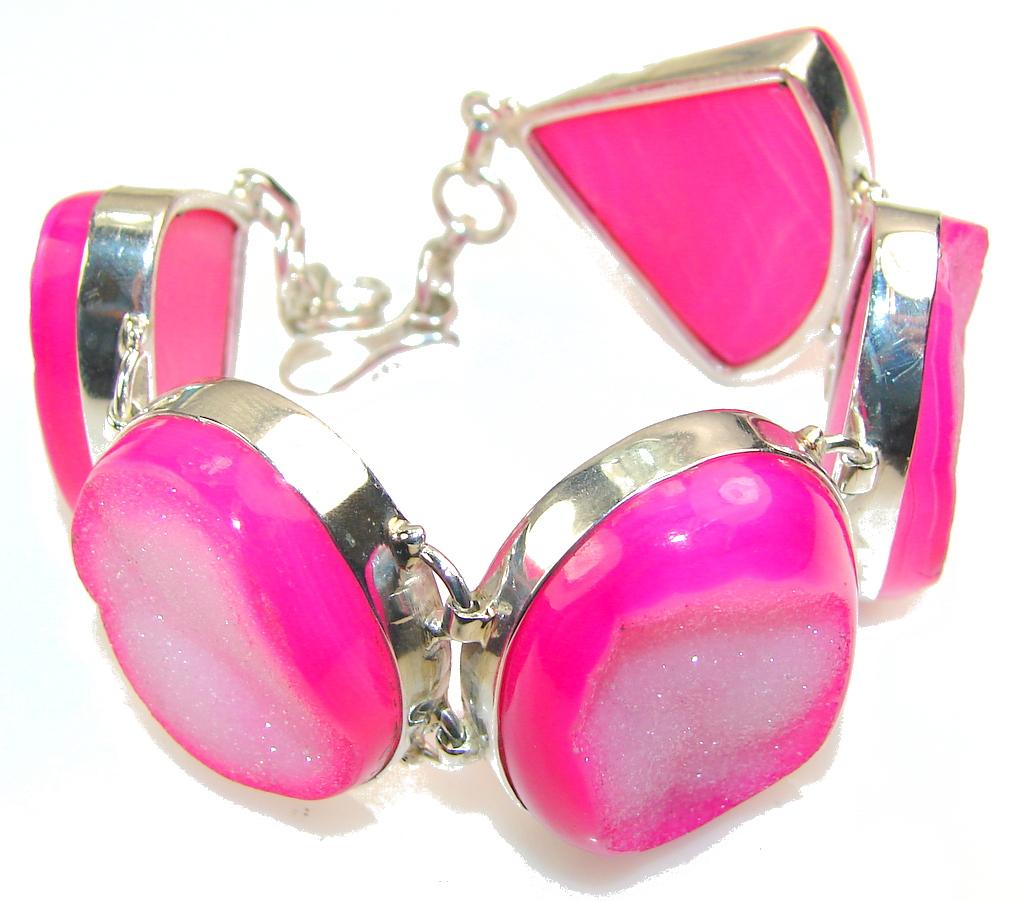 Love Declared!! Pink Agate Druzy Sterling Silver Bracelet