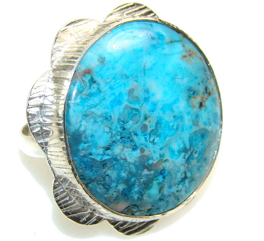 Big!! Fantastic Dyed Moss Agate Sterling Silver ring s. 12