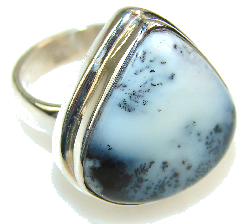 Beautiful Dendritic Agate Sterling Silver Ring s. 6