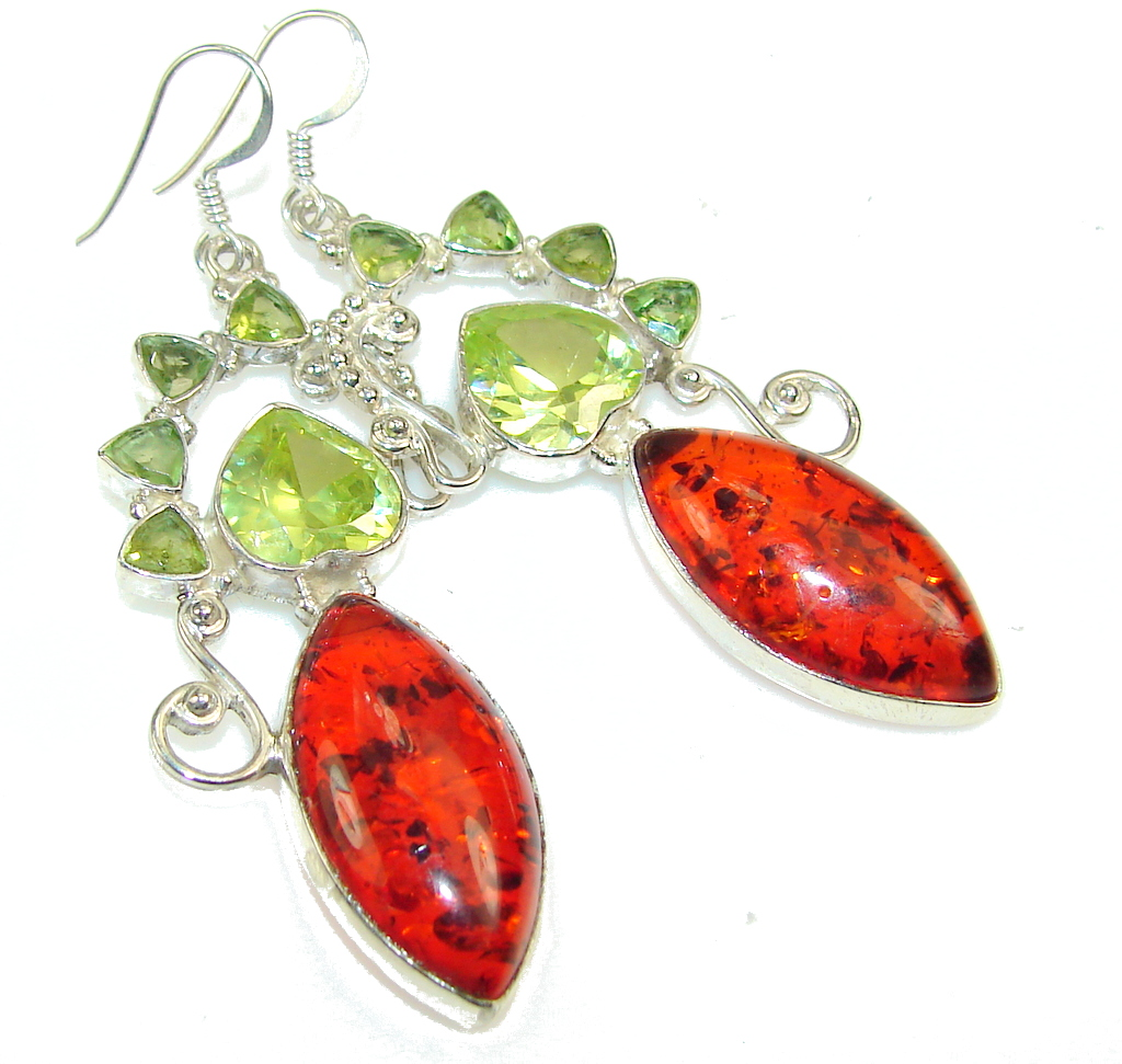 Instant Classic!! Created Polish Amber Sterling Silver earrings