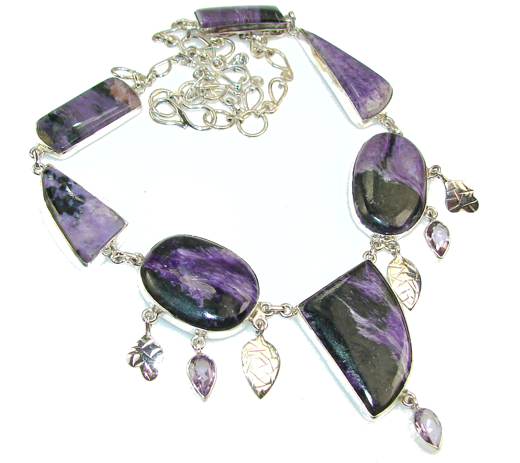 Amazing Purple Charoite Sterling Silver Necklace