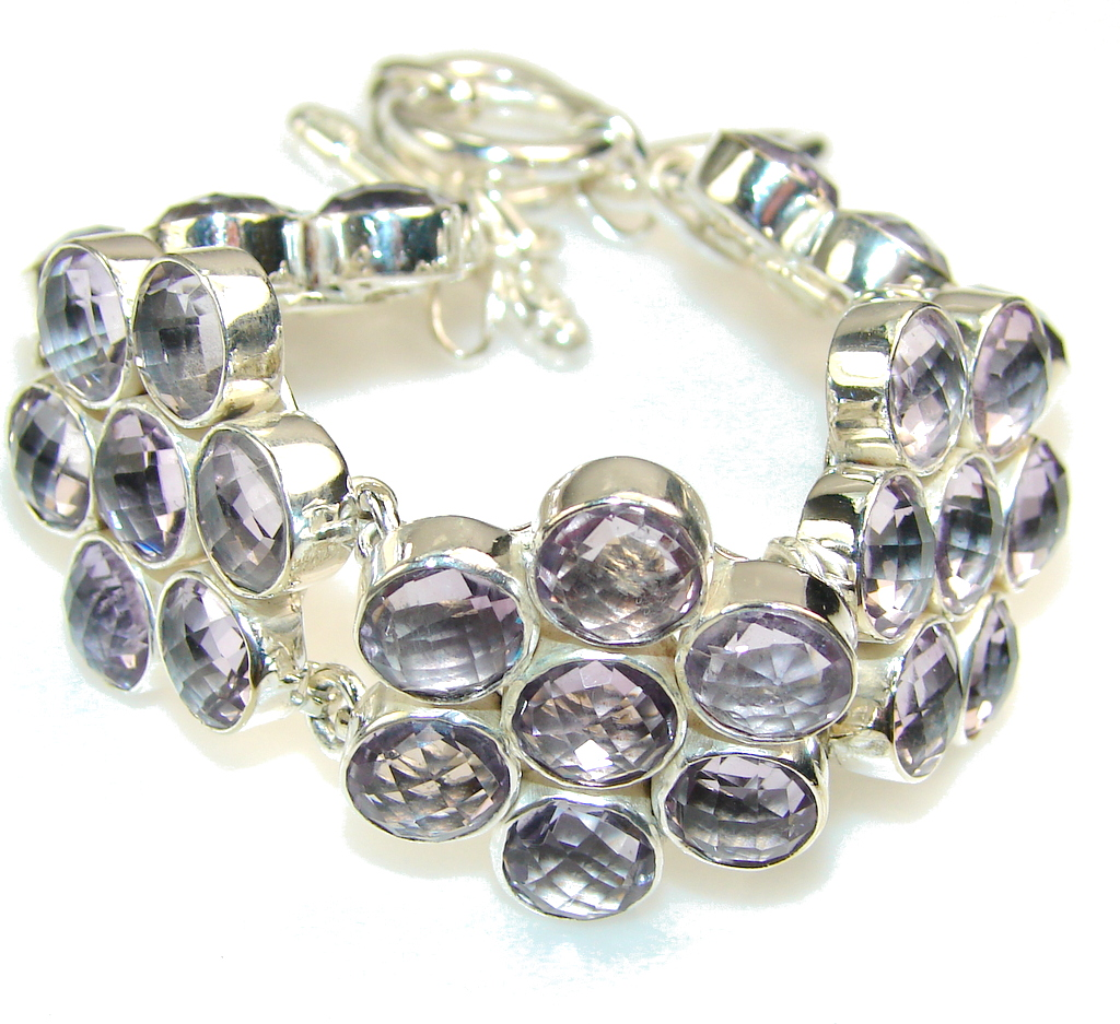 Sweet Created Pink Amethyst Sterling Silver Bracelet