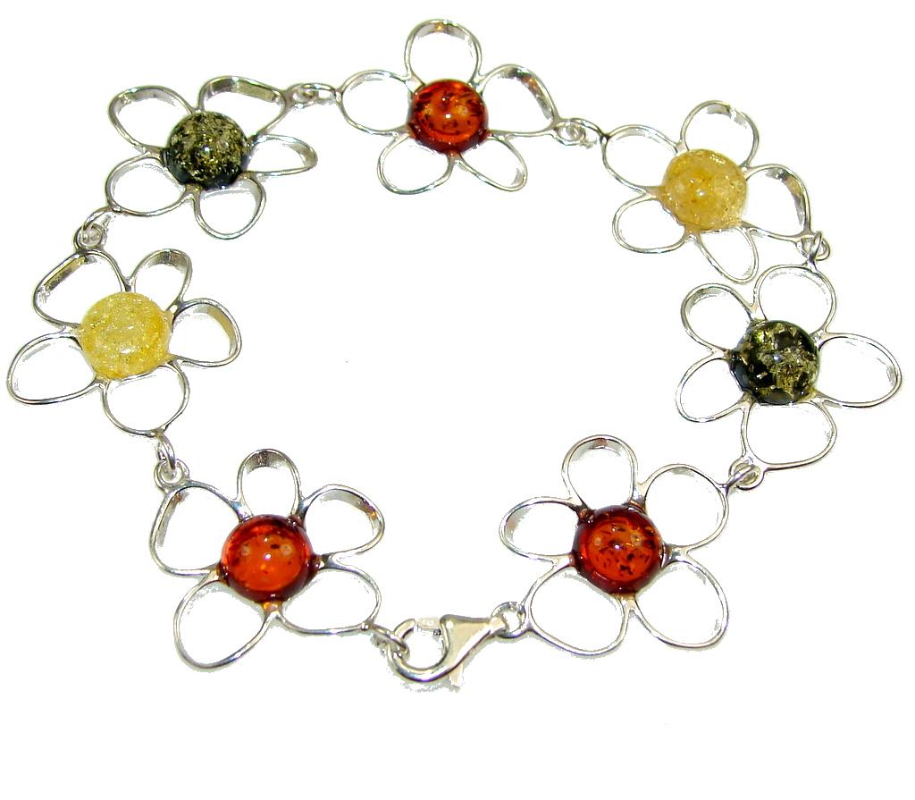 Beautiful Multicolor Polish Amber Sterling Silver Bracelet