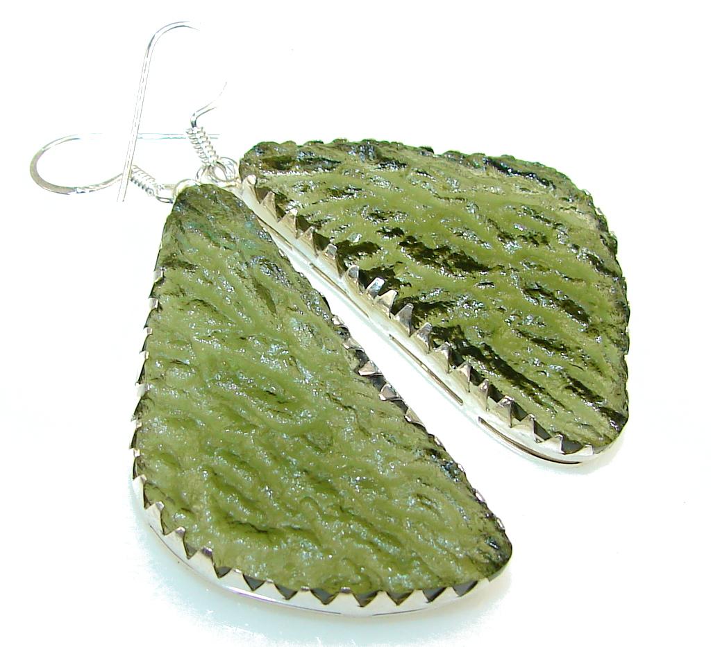 Excellent Green Moldavite Silver Sterling earrings