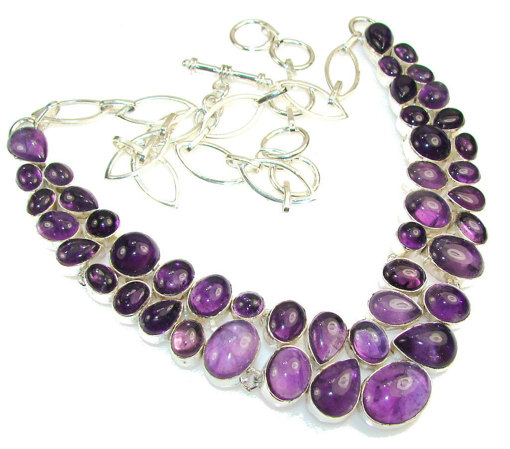 Real Natural Beauty!! Amethyst Sterling Silver necklace