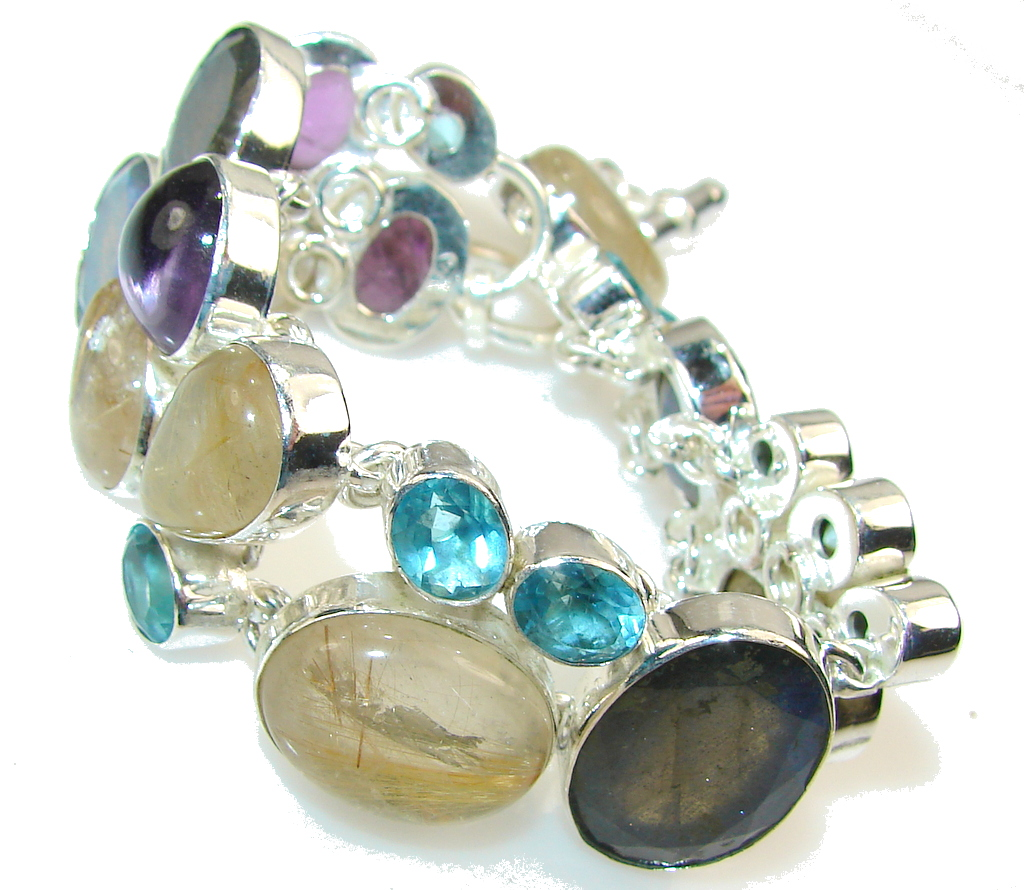 Beautiful Multigem Sterling Silver Bracelet
