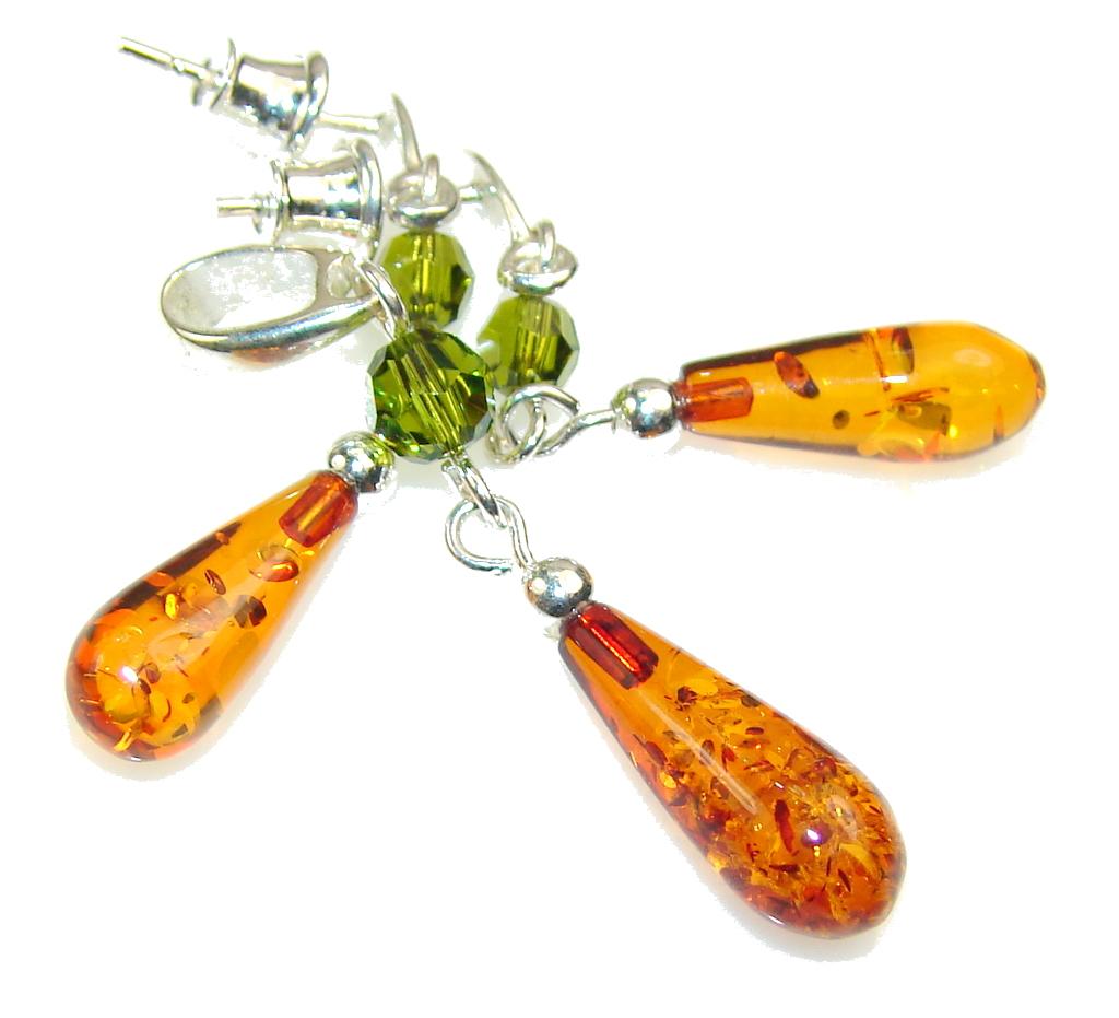 New!! Delicate Polish Amber Sterling Silver earrings / Set