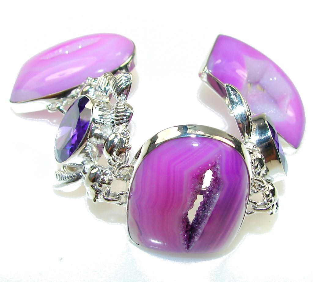 World Of Beauty!! Purple Agate Druzy Sterling Silver Bracelet