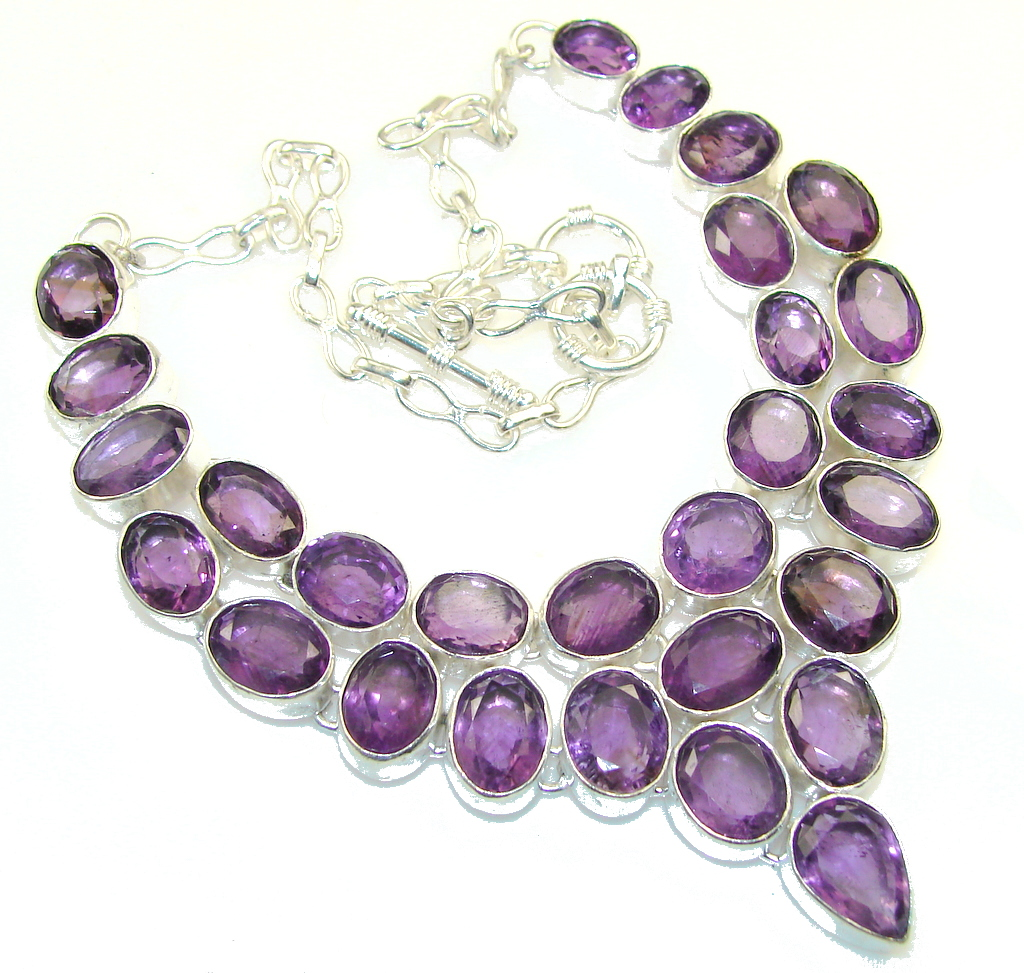 Real Amazing Design!! Purple Amethyst Sterling Silver necklace