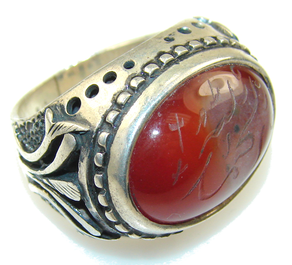Classy Brown Agate Sterling Silver Ring s. 6