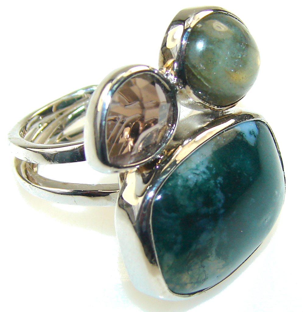 Excellent Green Moss Agate Sterling Silver ring s. 6 - Adjustable