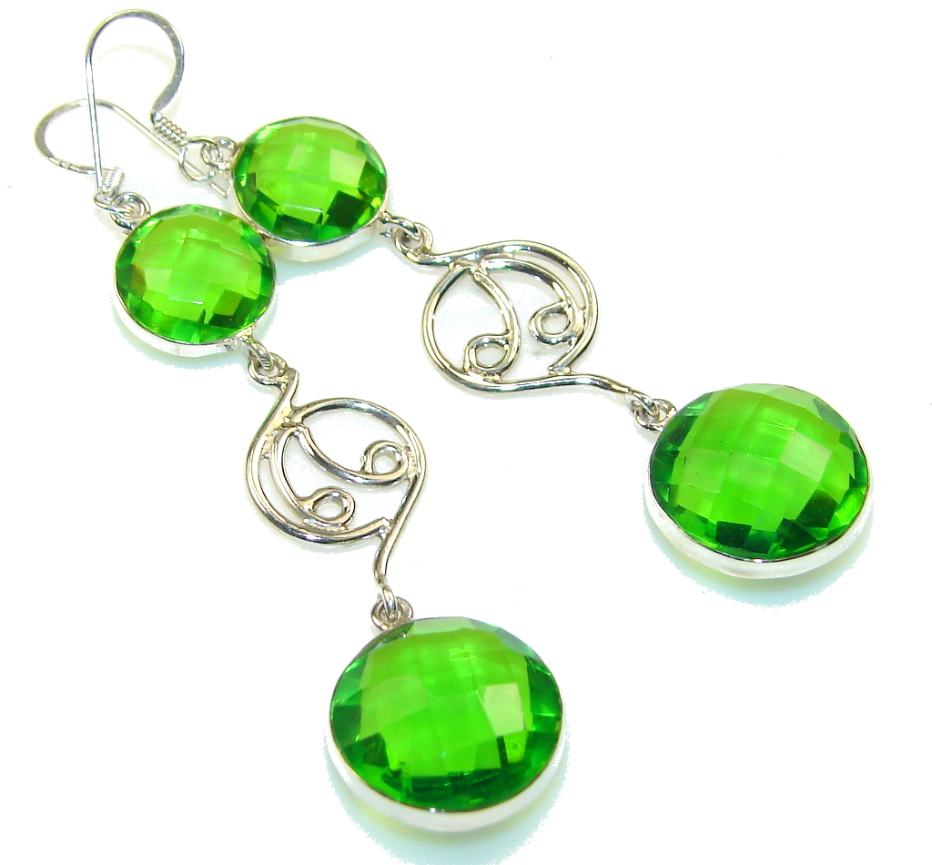 Excellent Green Quartz Sterling Silver earrings / Long