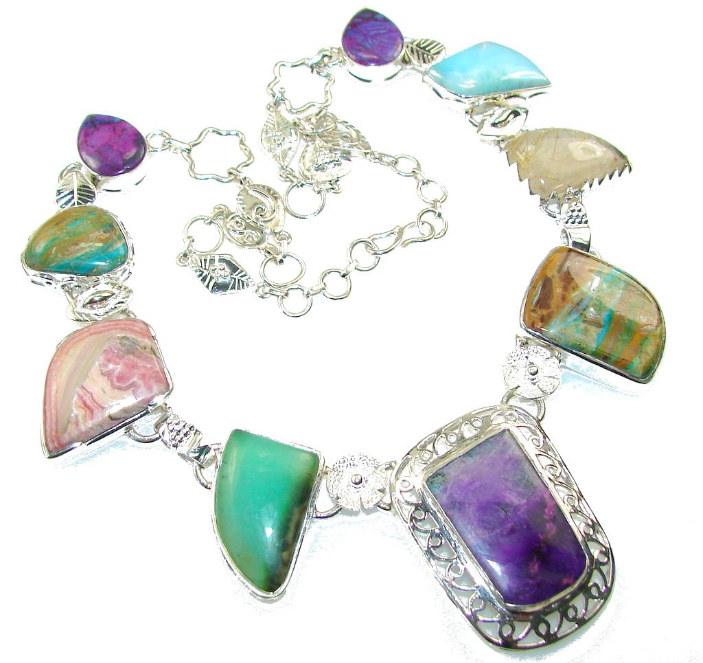 Aura Of Beauty!! Multigem Sterling Silver Necklace