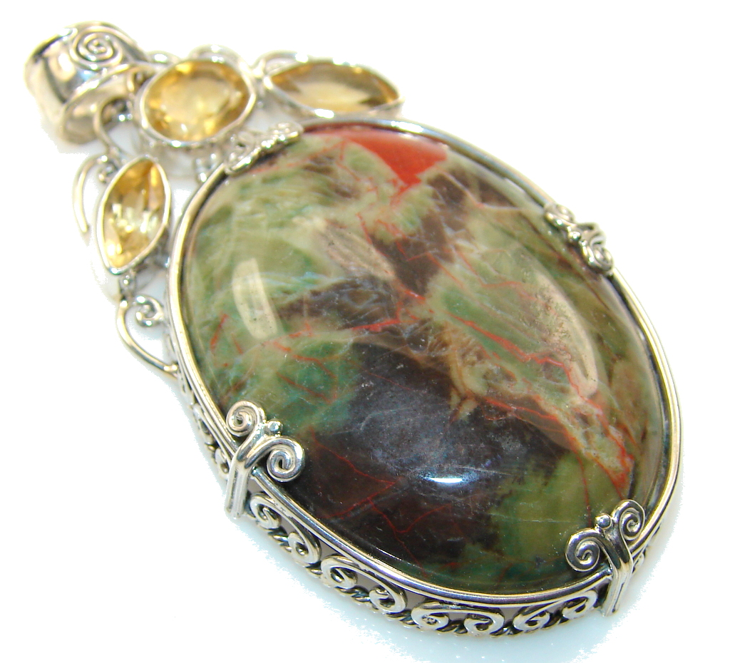 Afton Canyon Cady Mountain CA AAA Moss Agate Silver Pendant