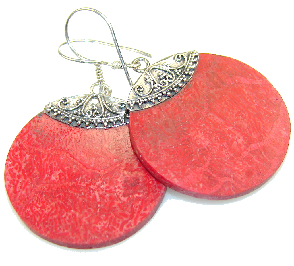 Excellent Fossilized Coral Sterling Silver earrings