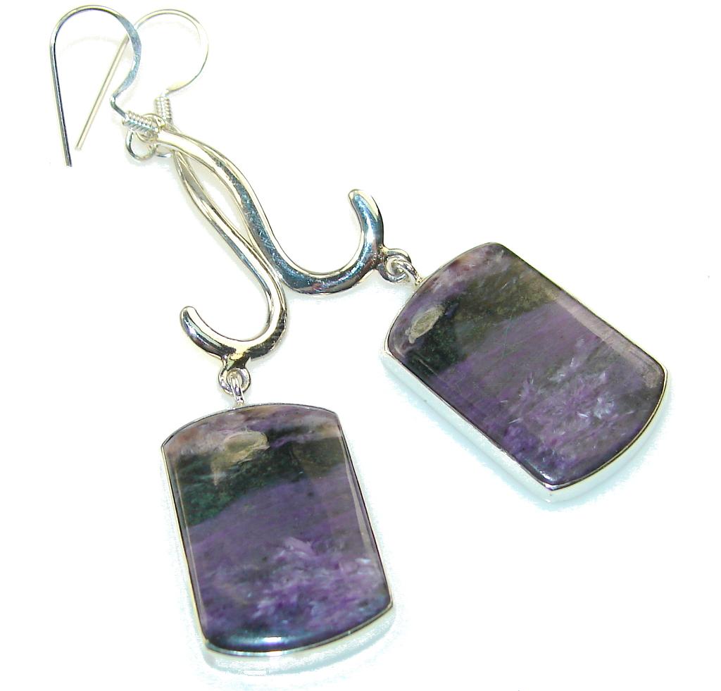 Fantastic Purple Charoite Sterling Silver earrings