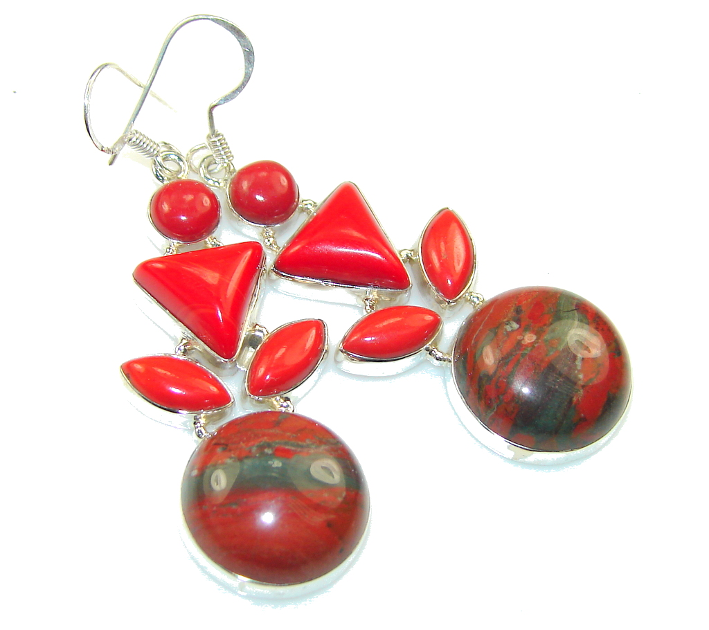 Fabulous Red Jasper Sterling Silver earrings