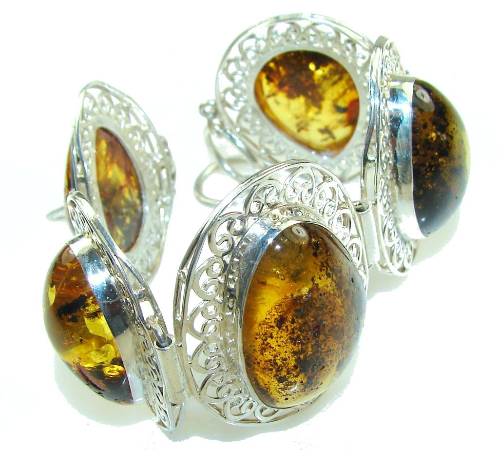 Gorgeous Design!! Polish Amber Sterling Silver Bracelet