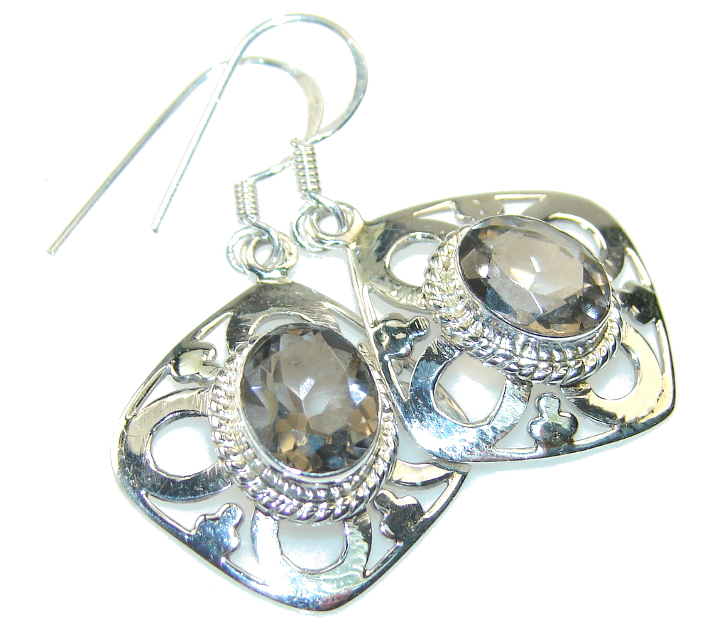 Excellent Brown Smoky Topaz Sterling Silver earrings