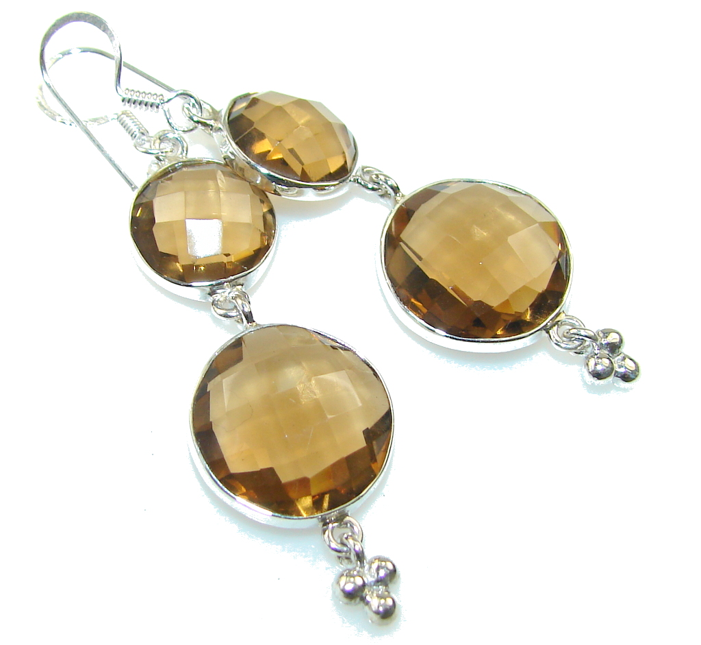 Fantastic Brown Smoky Topaz Sterling Silver earrings