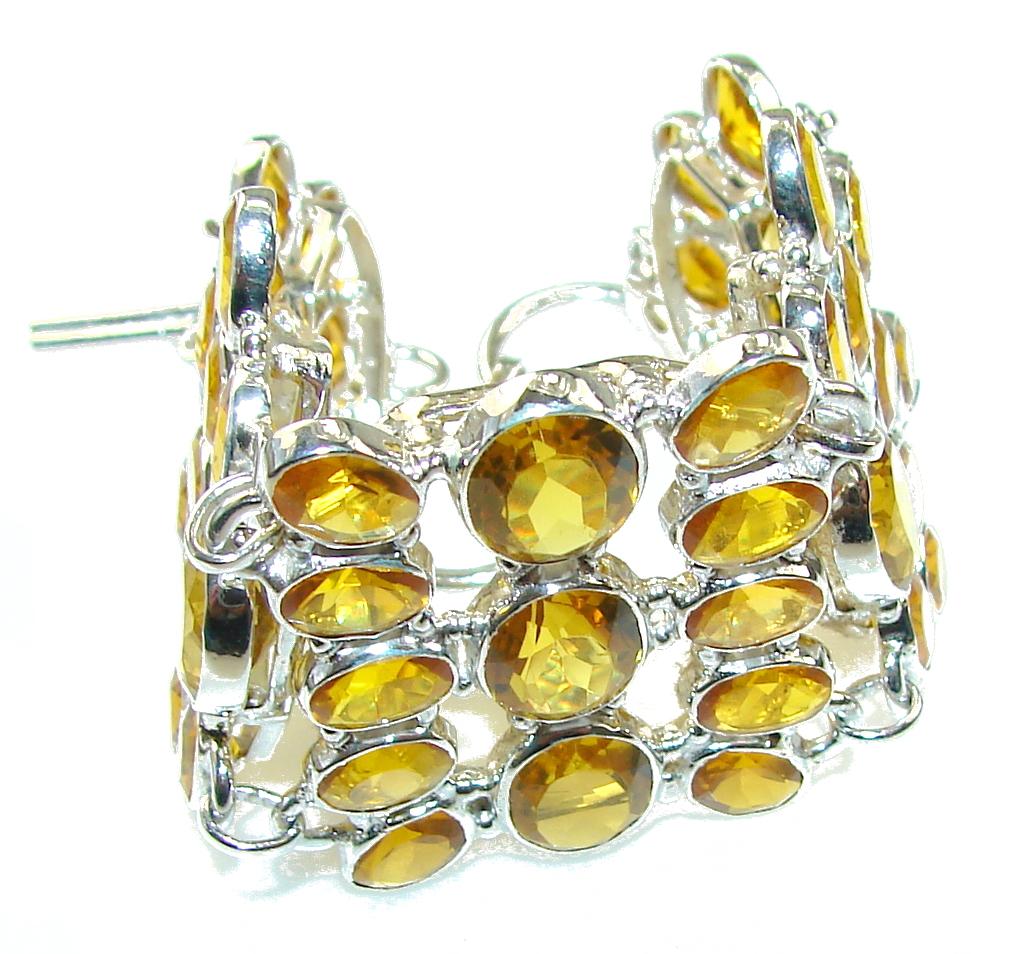 Bright Sun!! Yellow Citrine Sterling Silver Bracelet