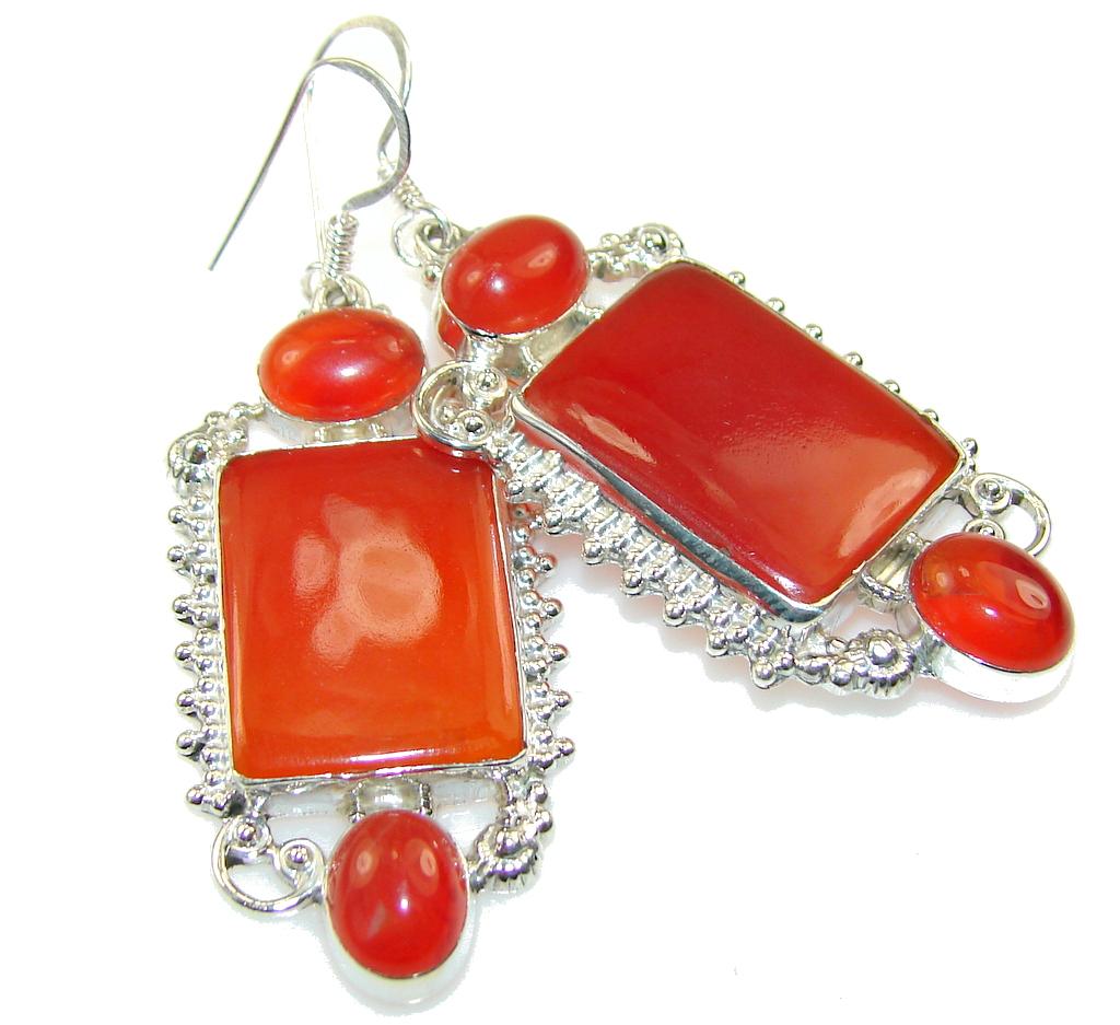 Excellent Orange Carnelian Sterling Silver earrings