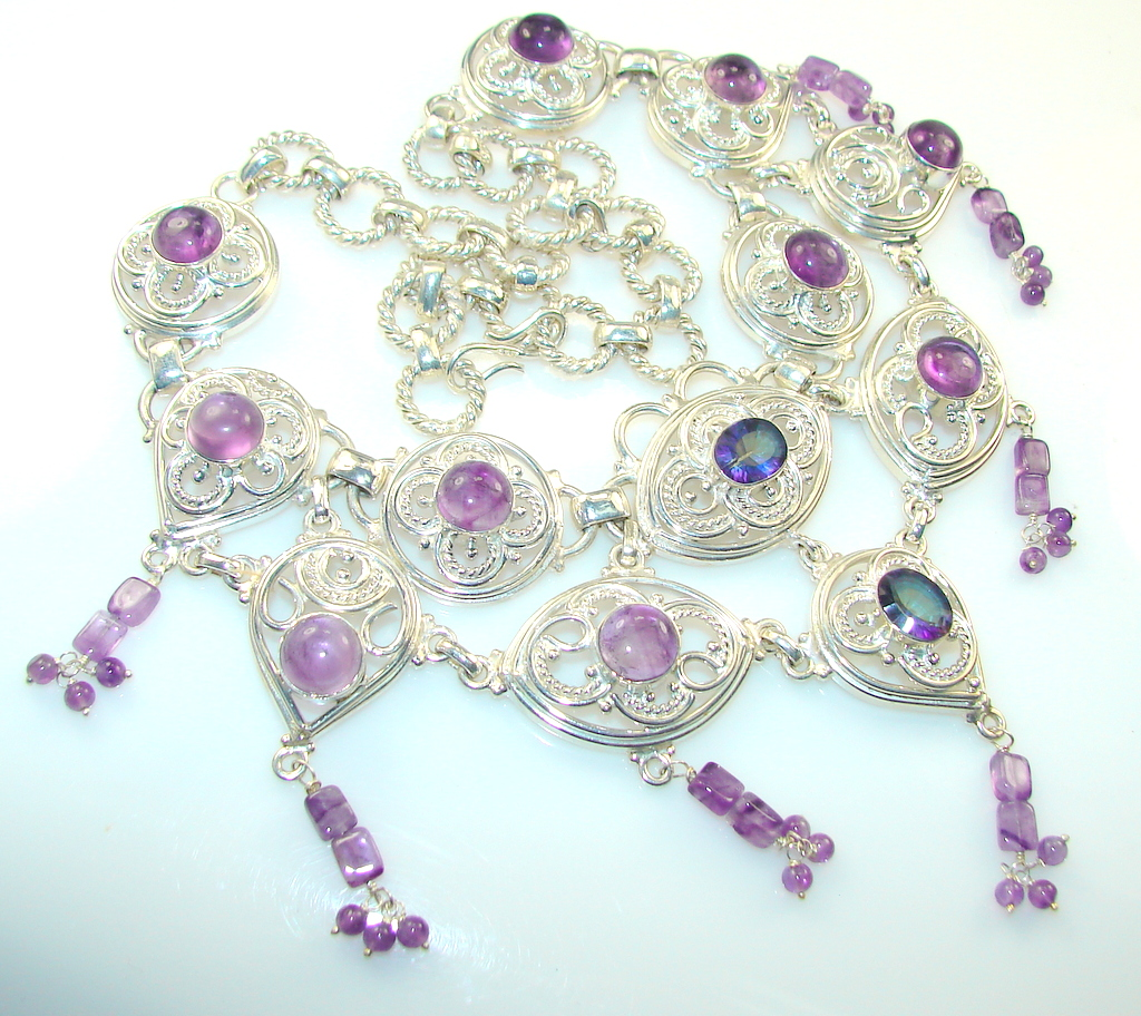 Beautiful Purple Amethyst Silver Plated necklace