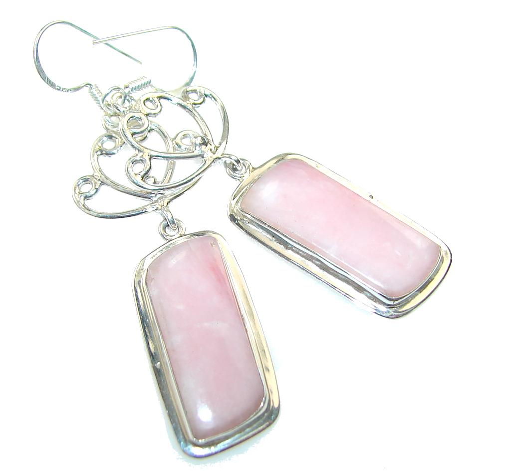 Delicate!! Pink Opal Sterling Silver earrings