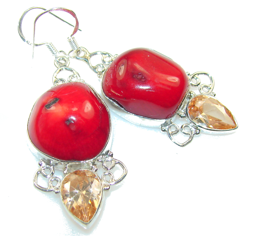 Amazing Red Fossilized Coral Sterling Silver earrings
