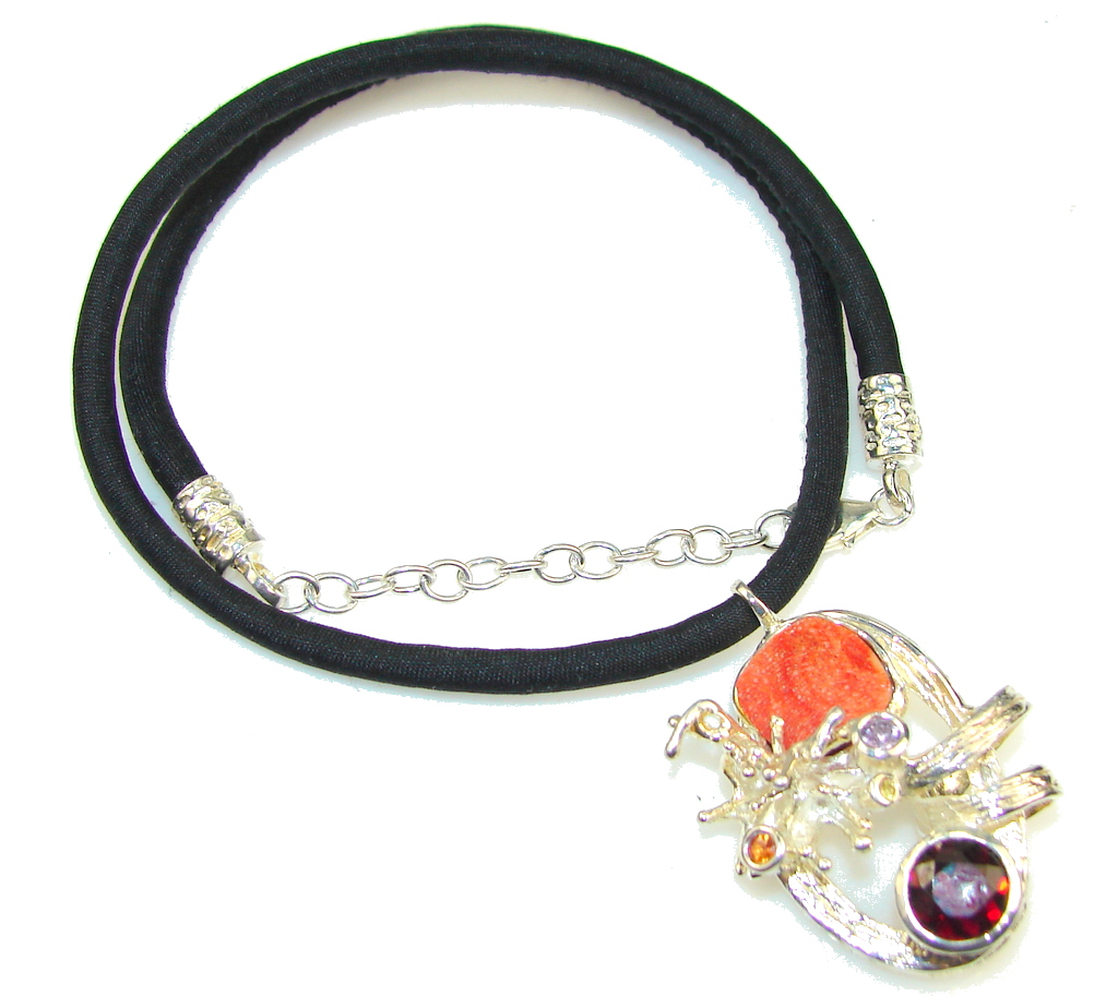 Amazing Design! Italy Made Fossilized Coral Sterling Silver necklace