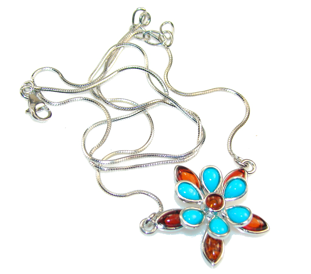 Beautiful Design!! Polish Amber Sterling Silver necklace
